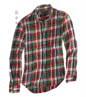 American Eagle AE Mens Athletic Fit Red Green Plaid Shirt New Free
