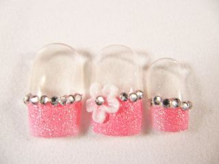 Japanese Artificial Fake Nails Art Cute Pink 3D Flowers