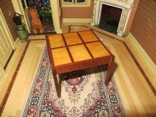 DOLLHOUSE MINIATURE FURNITURE ARTISAN GREEN SIGNED KITCHEN TABLE