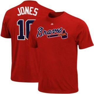 Majestic Chipper Jones Atlanta Braves 10 Player T Shirt Red