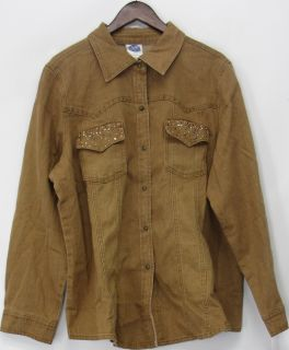DG2 Diane Gilman Embellished Stretch Denim Shirt Brown Sz 2X NEW HH34