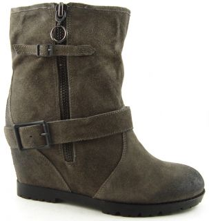 Ash Subway Grey Suede Womens Designer Shoe Buckled Ankle Boots 10 EUR