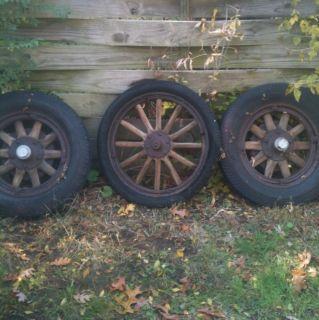 Lot of Antique Oldsmobile Wooden Car Wheels Rims