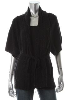 Autumn Cashmere New Galax Black Cashmere Shawl Open Front Cardigan