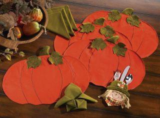 Fall Autumn Harvest Orange Pumpkin Placemats Green Napkins Table Linen