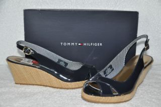 New Womens Tommy Hilfiger Chavella Navy Blue Wedge Heels Sandals Shoes