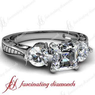 Ct Asscher Cut 3 Stone Diamond Vintage Engagement Ring Cut Very Good