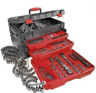 Craftsman Auto Car Repair Ratchet Socket Lot Tool Set Carry Tool Box