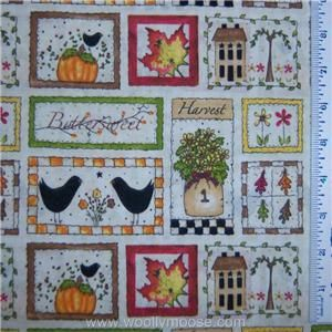 Half Yard Autumn Thanksgiving Pumpkin Leaf Harvest Blessings Fabric 1
