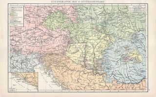 Ethnic Map of Austria Hungary Authentic Times of London Antique Map