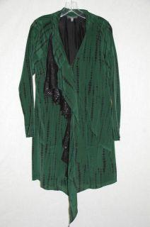 Sachin Babi Green Black Silk Sequin Shift Dress Sz 4
