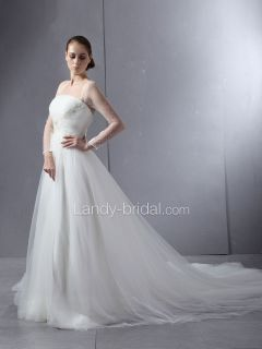 Landybridal Ivory Tulle Beads Wedding Dresses Bridal Gowns Size