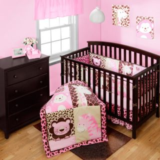 Baby Boom Girl Jungle Friends 4 piece Crib Bedding Set Pink NEW