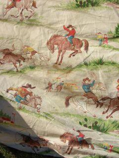 Vintage Western Scenes Cowboy Twin Cotton Bedspread
