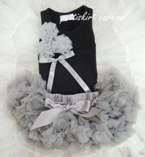 Newborn Baby Silver Gray Pettiskirt Bunch Rosette Black Tank Top 2pc
