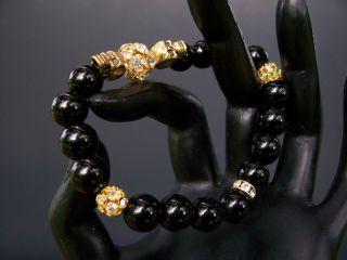 Black Onyx Crystal Skull Bracelet Jewelry Baby Chrome King Hearts