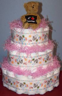 Teacher Diaper Cake Baby Shower Gift Girl