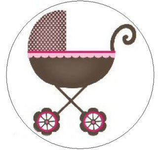 Pink Brown Baby Stroller 1 Sticker Seal Labels