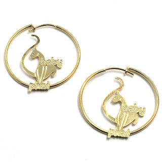 Gold 18K GF Earrings Baby Phat Hoop Thin Cat Fashion 22mm Sexy Lady