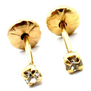 Gold 18K GF CZ White Crystal Earrings Kids Baby Girl Safety Stud 1mm