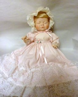 OOAK BISQUE St. George BABY GIRL BAPTISM DOLL Florida STATE FAIR ENTRY