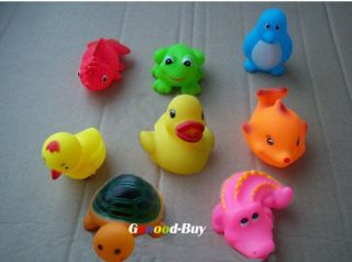 Lots 8 Baby Bath Toy Rubber Funny Squeak Animals