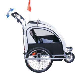 Aosom 2in1 Double Kids Baby Bike Bicycle Trailer Stroller Jogger Black
