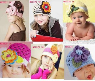 Infant Baby Crochet Flower Knitting Hats Caps Boy Hats
