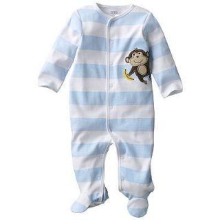 Carters Baby Boy Clothes Sleepwear Pajama Blue Monkey 3 6 9 Months