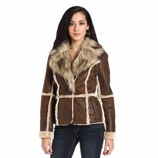 Baby Phat Fur Trim Shearling Coat M MSRP $149 00