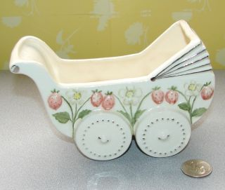 Vintage Baby Carriage Pram Planter Ceramic Unmarked