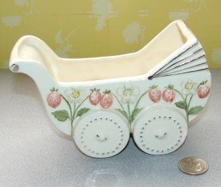 Vintage Baby Carriage Pram Planter Ceramic Unmarked
