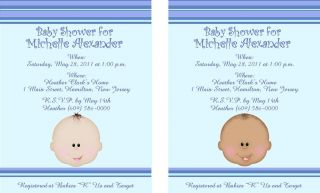 10 Sweet Baby Boy Face Personalized Baby Shower Invitations w