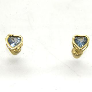 14k Yellow Gold Any Birthstone Heart Baby Earrings Screw Back