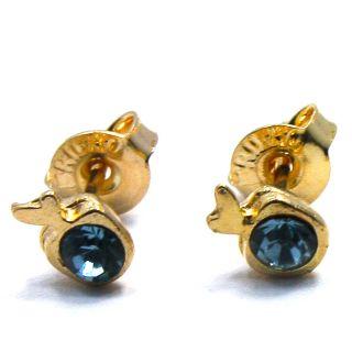 Little Tiny Baby Blue Crystal Apple Earrings Girl Infants 4mm Stud