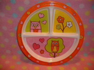 Kids Fun Round Plate Dish Owl Prints Orange Dishwasher Safe Cute Fun