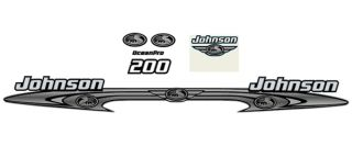 Johnson 200 Ocean Pro Outboard Decal Set Evinrude Cowl