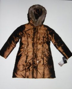 Baby Phat Girls Gold Winter Down Coat Jacket Gold Leopard Fur s M XL