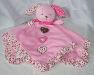 Carters Pink Bunny Hearts Girls Lovey Satin Security Blanket Rattle