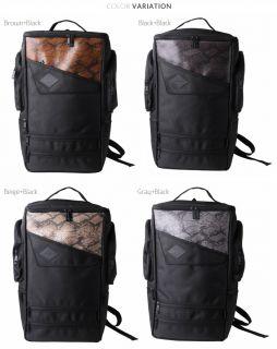 Snakeskin PU Leather Backpacks Mens Bags Laptop School Travel