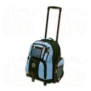 New Roomy 18 Rolling Wheeled Backpack Bookbag Sky Blue