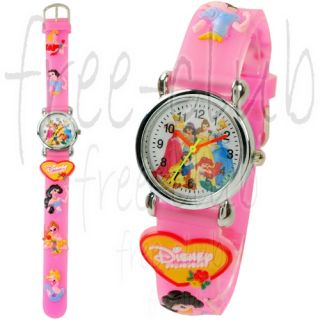 Disney Princess Aurora Ariel Belle 3D Pink Wrist Watch