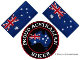 Lot of 3 Proud Australian Biker Patch Australia Flag Embroidered