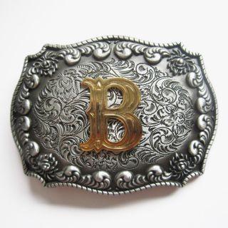 Initial Letter B Cowboy Rodeo Western Metal Belt Buckle