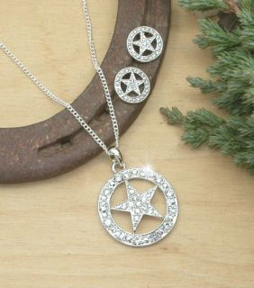 HORSE WESTERN JEWELLERY JEWELRY CRYSTAL TEXAS STAR NECKLACE EARRINGS