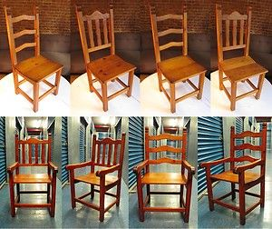 Dining Room Chairs 6 Heart Pine Farmhouse Country