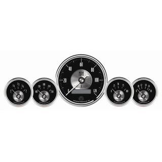 New Auto Meter Black Diamond Prestige Series 5 Gauge Set w/ Chrome