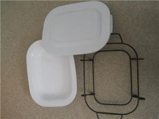Corningware Casual Elegance White Baking Dish with Plastic Lid and