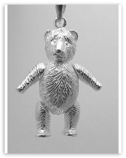 Movable Teddy Bear Pendant Charm Large Sterling Silver