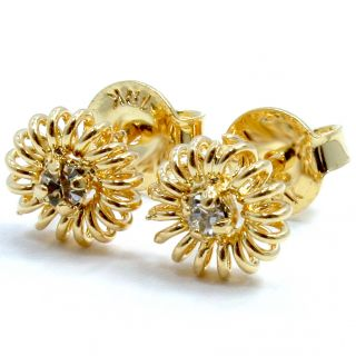 Gold 18K GF Girl Baby Earrings Twisted CZ Crystal White Flower Kids